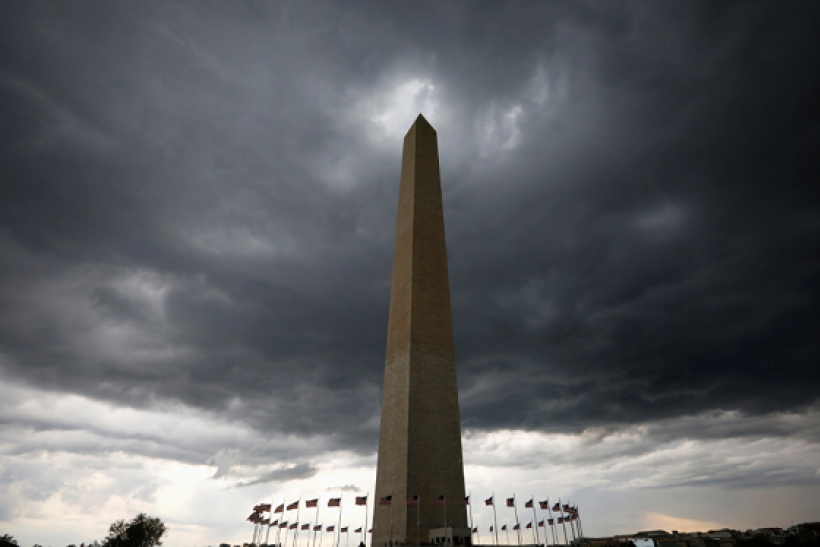 Storm clouds hover above the Washington monument in Washington D.C., U.S., August 15, 2016. Picture taken August 15, 2016.