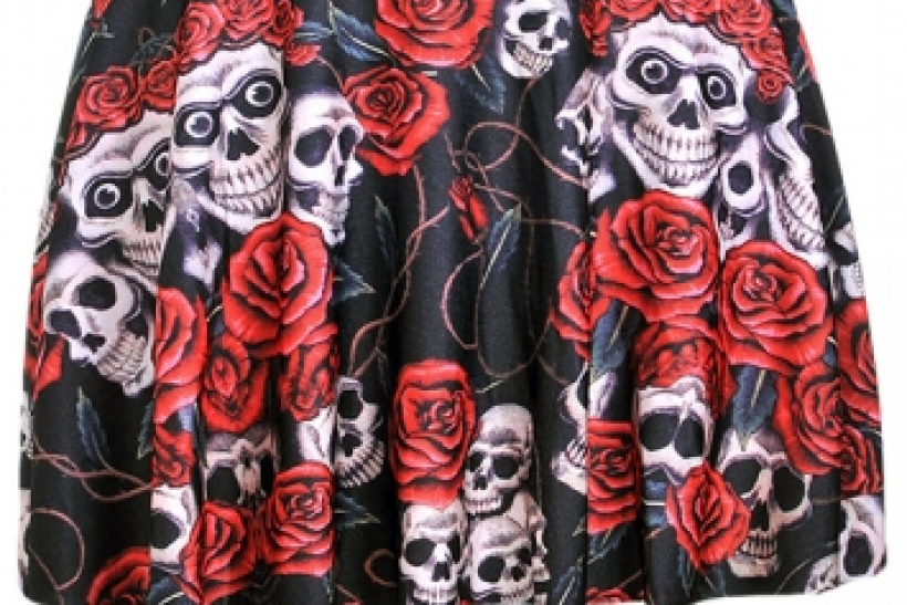 Floral Skull Printed Pleated Skirt, Pink Queen $10.89