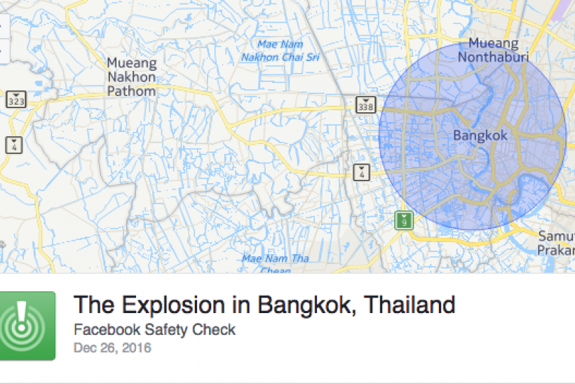 Facebook Safety Check for Thailand 'explosion' mistakenly triggered.