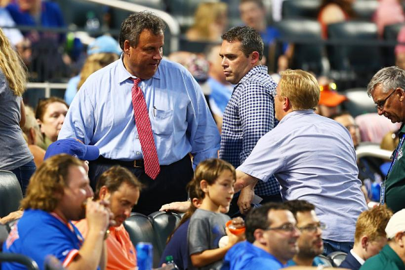 Chris Christie at the Mets game