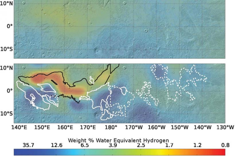 Water on mars odyssey data shows underground ice in equatorial region mars equator water gumiabroncs Choice Image