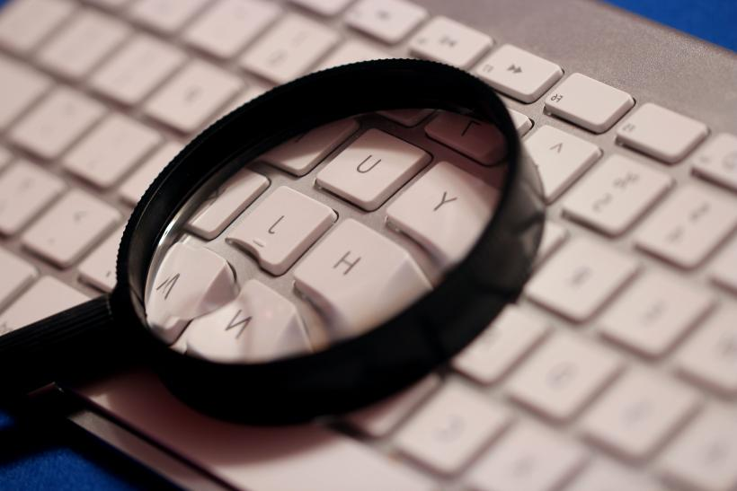 Magnifying glass on keyboard