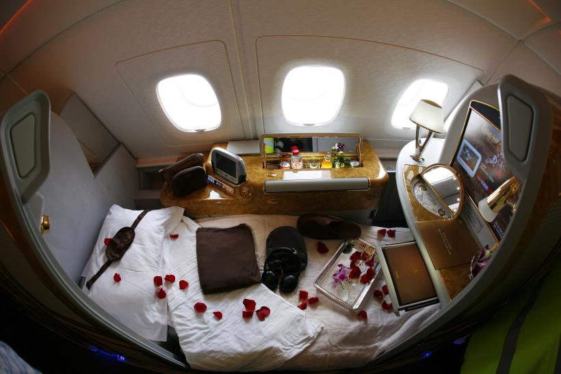 A first class seat is seen on Emirates Airbus