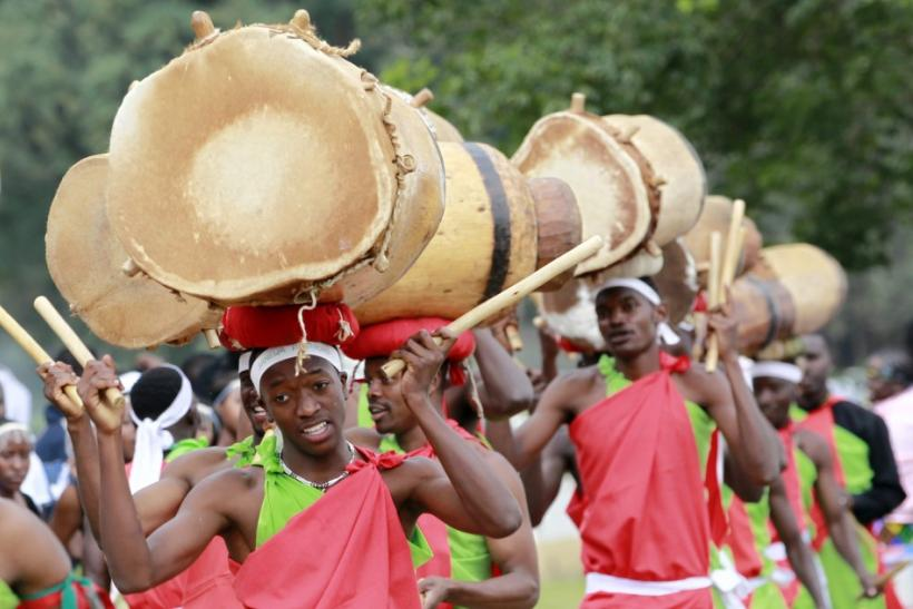 Burundian refugees perform a traditional dance during celebrations to mark World Refugee day in Nairobi