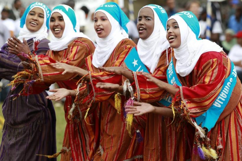 Somali refugees perform traditional dance during celebrations to mark World Refugee Day in Nairobi