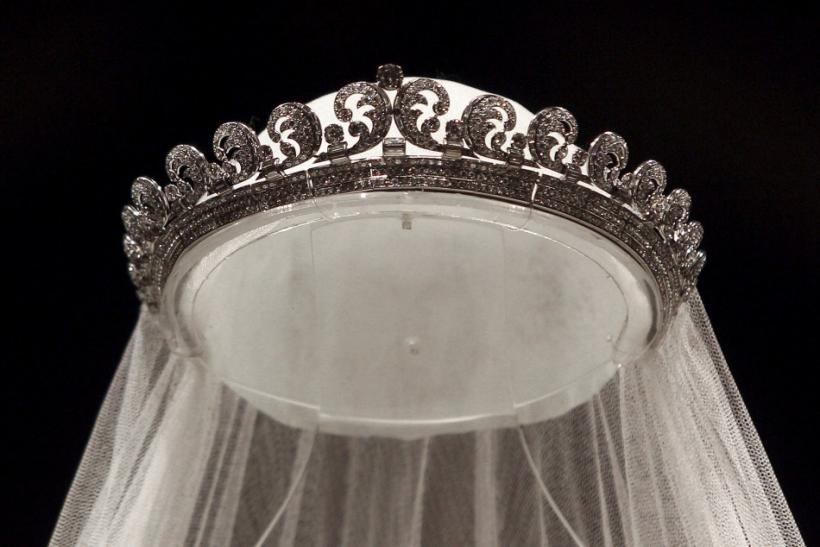 """The Cartier """"Halo"""" tiara, worn by Britain's Catherine, Duchess of Cambridge on her wedding day is seen at Buckingham Palace in London"""