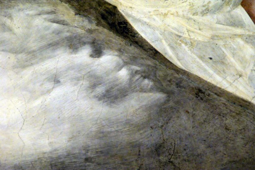 A detail of a fresco by Giotto is seen in the Basilica of St Francis in Assisi