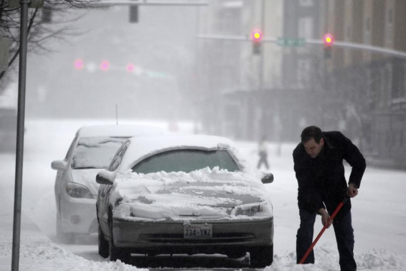 Snow Storm Covers Cars