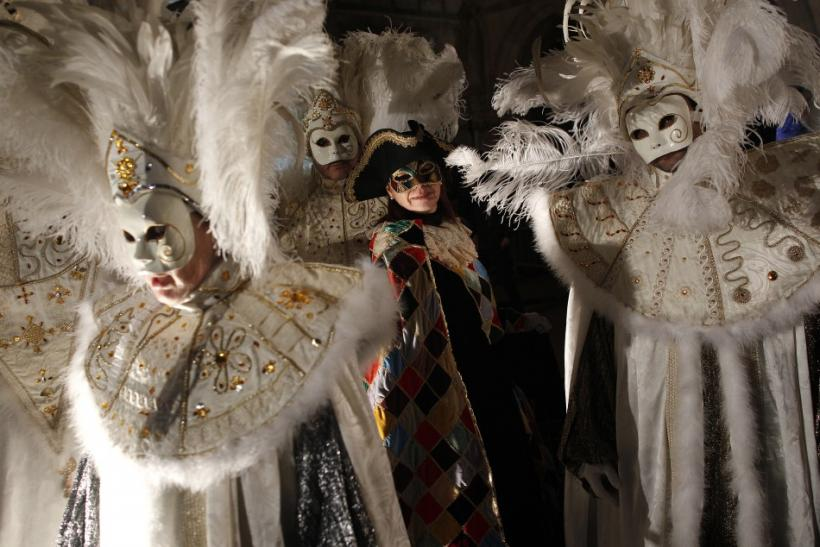 Venice Carnival 2012: Masked Revellers Party Medieval Style