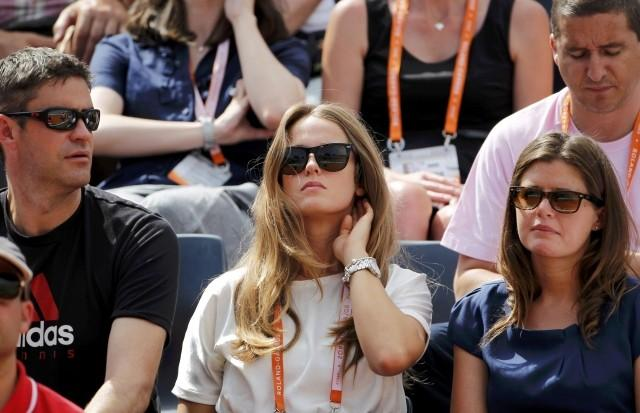 Sears watches the match between Murray and Santiago Giraldo of Colombia during the French Open