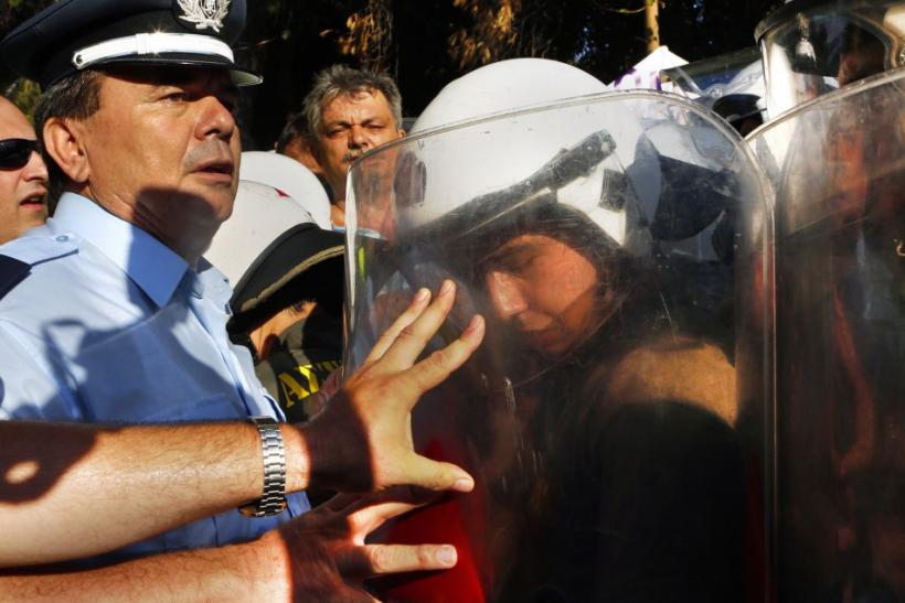 Greek Riot Police Clash With Colleagues On Strike