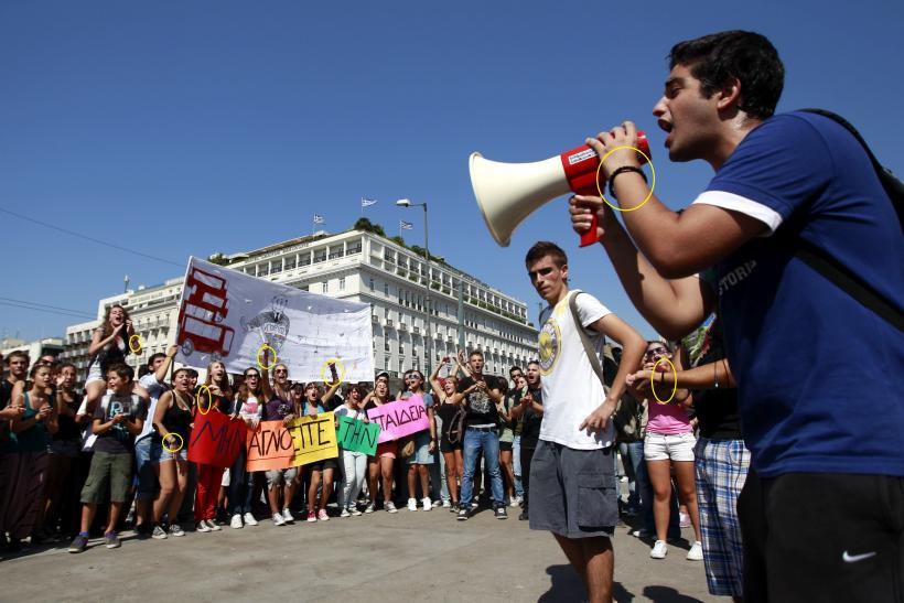 A student leads a rally against cuts to education spending, in Athens, on October 2.