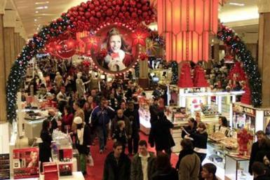 A holiday shoppers pack Macy's department store in Herald Square in New York
