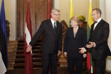 Latvia's President Zatlers pose for media with his counterparts Ilves of Estonia and Grybauskaite of Lithuania during their meeting in Riga