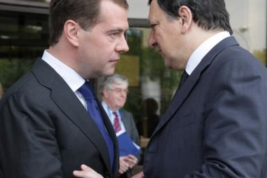 Russian President Dmitry Medvedev and European Commission President Jose Manuel Barroso - file photo.