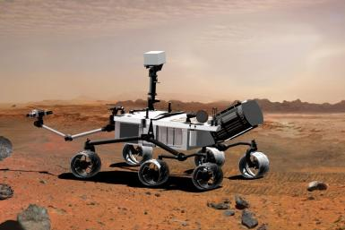 An artist's conception of NASA's Mars Science Laboratory rover, on the surface of Mars.