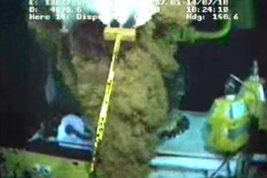 Video grab of work continuing on equipment at the site of the BP oil well leak in the Gulf of Mexico