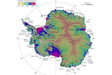 Antarctica ice flow map