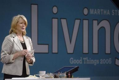 """Martha Stewart speaks to the audience at her trade show, called """"Good Things"""", in New York"""