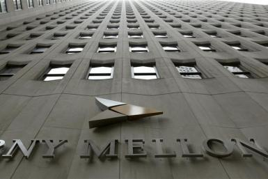 A BNY Mellon sign is seen on its headquarters in New York's financial district