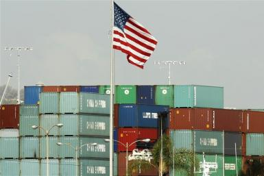 China Shipping containers lie on the dock after being exported to the U.S. in Los Angeles
