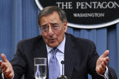 U.S. Defense Secretary Leon Panetta gestures as he briefs the media at the Pentagon Briefing Room in Washington, DC January 26, 2012
