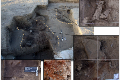 Structural remains of two prehistoric huts found in eastern Jordan provide new insights into how humans lived 20,000 years ago. Photo Credit: Lisa A. Maher, Department of Anthropology, University of California