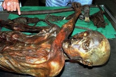 An undated handout file photo shows ''Otzi'', Italy's prehistoric iceman.