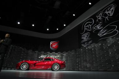 The new SRT 2013 Viper seen from the side at the New York International Auto Show 2012.