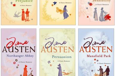 A handout image shows author Jane Austen's repackaged classics