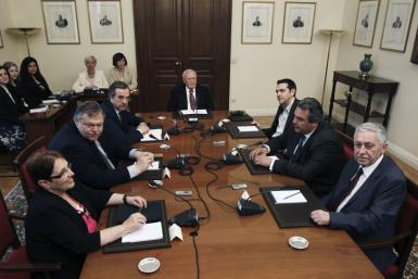 Greek political leaders attend a meeting in Athens