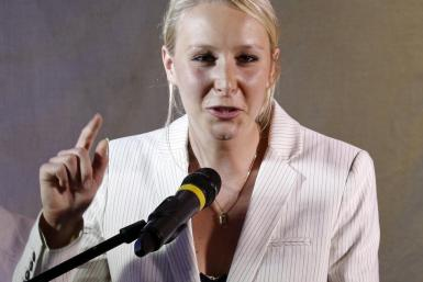 Marion Marechal-Le Pen delivers a speech to supporters after she won a seat in Parliament in the run-off round of legislative elections in Carpentras
