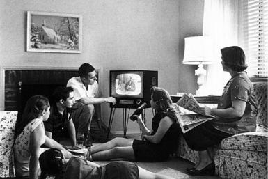 American Family watching TV in the 1950s