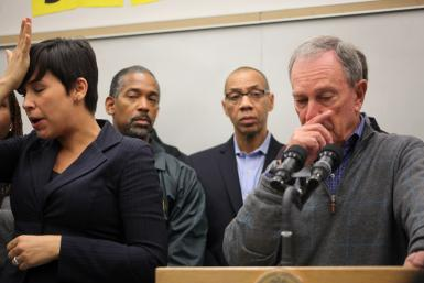 New York Mayor Michael R. Bloomberg discusses Hurricane Sandy during a press conference Sunday.