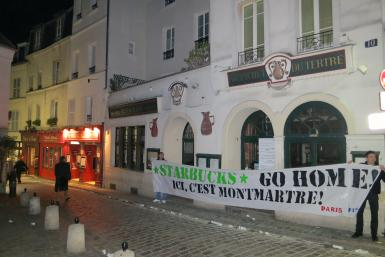 Protests Against Starbucks In Montmartre