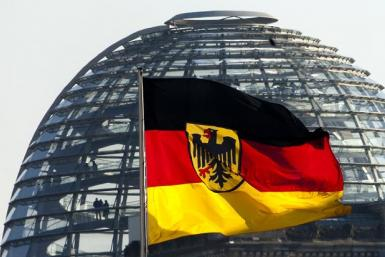 German flag at the Reichstag in Berlin