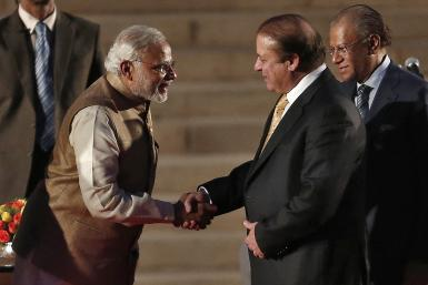 Narendra Modi with Nawaz Sharif