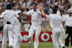England's Pietersen celebrates with teammates after claiming the wicket of Australia's Clarke during the fourth day of the second Ashes cricket test in Adelaide.