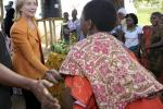U.S. Secretary of State Clinton meets with farmers of the Upendo Women's Cooperative group in Mlandizi