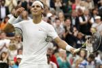 Rafael Nadal of Spain reacts after defeating Ryan Sweeting