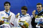 Medallists pose after the men's 400m freestyle final at the 14th FINA World Championships in Shanghai