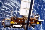 The seven-ton Upper Atmosphere Research Satellite (UARS) is deployed by the Space Shuttle Discovery (STS-48) in this NASA handout photo dated September 1991. NASA is expecting the satellite to re-enter Earth's atmosphere in late September or early October