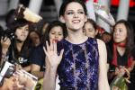 """Cast member Kristen Stewart poses at the premiere of """"The Twilight Saga: Breaking Dawn - Part 1"""" at Nokia Theatre in Los Angeles"""