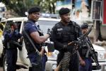 Police are seen after provisional election results are announced in Congo's capital Kinshasa