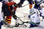 Florida Panthers' Kopecky tries to score against Vancouver Canucks goalie Luongo during their NHL hockey game in Sunrise