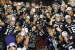 The TCU football team celebrates after their Rose Bowl victory in January.