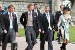 Prince William (L), Prince Harry (2nd L), Peter Phillips (2nd R) and Zara Phillips (R) arrive at St. George's Chapel in Windsor Castle for the Service of Prayer and Dedication for Prince Charles and the Duchess of Cornwall, the former Camila Parker Bowles