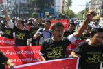 protest for press freedom in Yangon