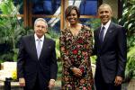 Barack Obama and first lady Michelle Obama with Cuban President Raul Castro