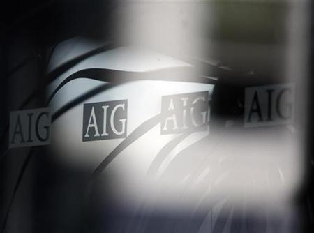 The logo of American International Group (AIG) is seen at their offices in New York
